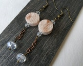 Special pendant earrings in terracotta ceramic hoop. Original gift idea