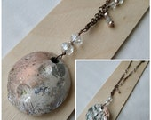Adjustable pendant necklace (two lengths) Lunar Moon Tides in terracotta ceramic