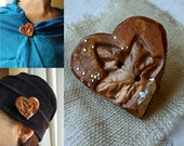 Hand-painted terracotta ceramic heart brooch. Original gift idea