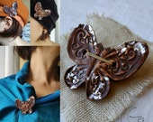 Hand-painted terracotta ceramic butterfly brooch. Original gift idea