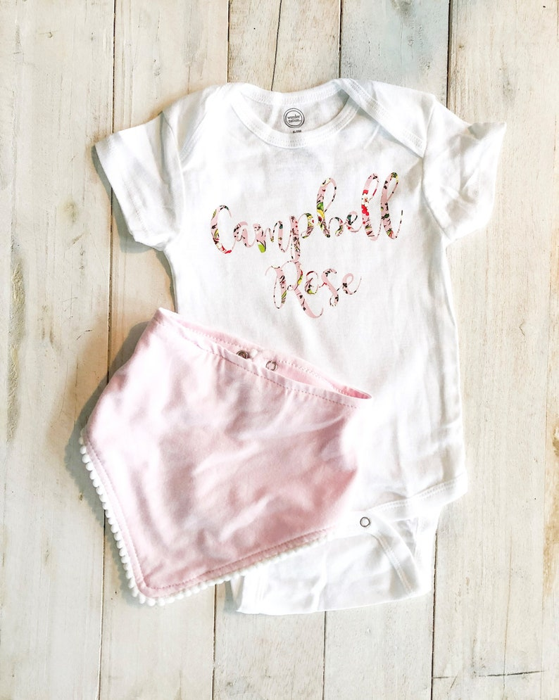 Baby Announcement | Shower Gift Personalized First and Middle Name Onesie Pregnancy Announcement Onesie Personalized Name Onesie