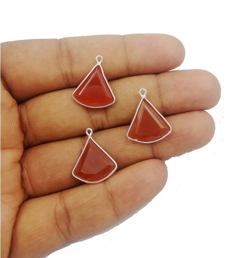 Selling Per Piece Carnelian 15mm Fan Shape Gold Bezel Pendant \u2013 Pendant For Jewelry \u2013 Earring Charms Pendant