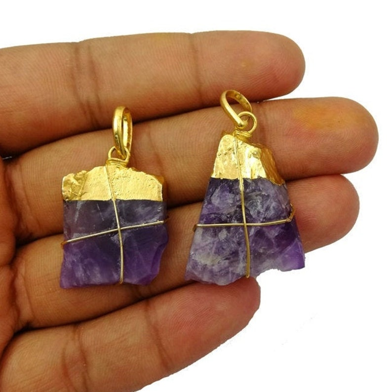 Selling Per Piece Natural Shape Pendant Natural Amethyst Raw Shape Gold Electroplated Cap Pendant