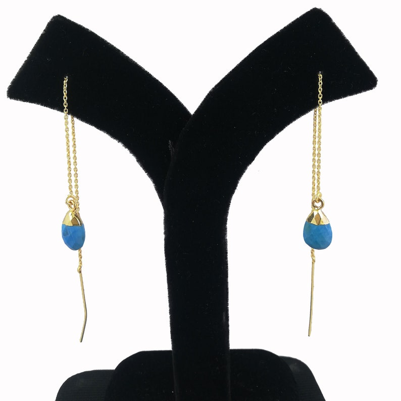 Threader Earrings Selling Per Pair Earrings Jewelry Chain Earrings Blue Turquoise Gemstone Faceted Gold Vermeil Threader Earrings