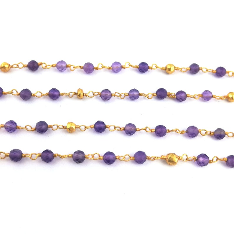 Selling Per Feet Amethyst and Gold Pyrite Gemstone Beaded Chain Necklace Chain Faceted Round Stone Bead Chain