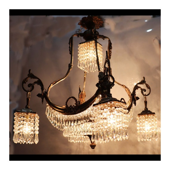 French Empire Crystal Chandelier Beads Chains Bronze Ceiling Light