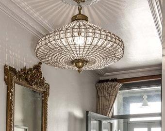 Birdcage French Empire Crystal Ceiling Chandelier Vintage Antique Replica Basket Brass Light Fixture