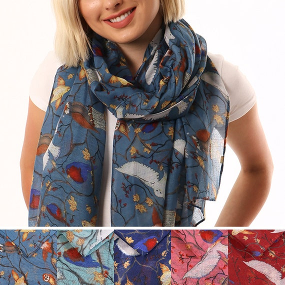Owl Scarf Owls Printed Scarves Womens Festive Christmas Gift for Her Hoot Bird
