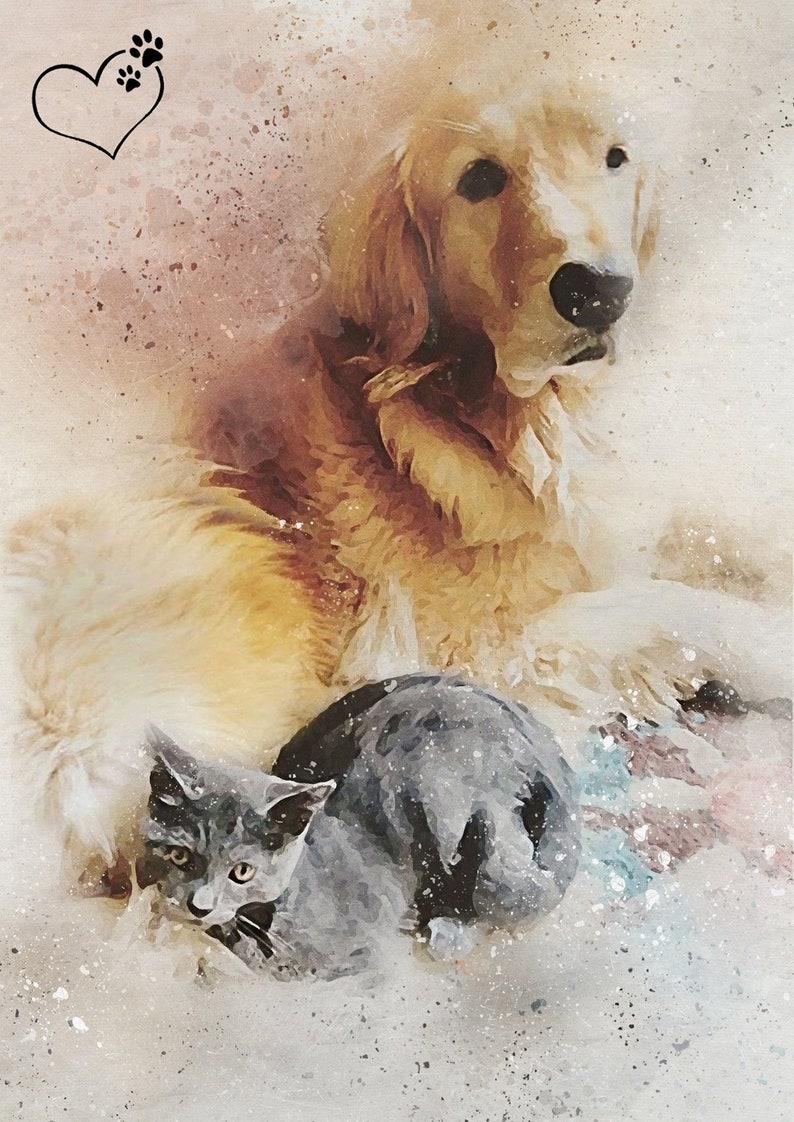 Pet Art Pet Memorial Custom Pet Portraits Pet Portrait Digital Pet Print Pet Illustration Personalised Gift Animal Portrait