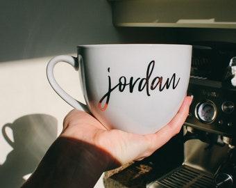 Personalized Porcelain Cappuccino Mug | Large Mug | Custom Large Mug | Custom Vinyl Mug | Custom Design  Mug | 22oz | Big Mug | Large Latte