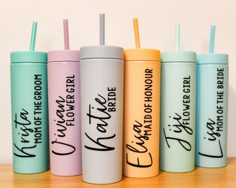 Personalized Skinny Matte Pastel Acrylic Tumbler with Lid and Straw |Tall Skinny Tumbler | Custom Skinny Tumbler |Bridesmaid Gift