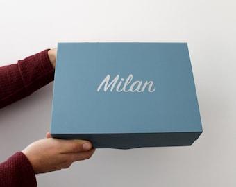 "Large Magnetic Blue Bridesmaid Proposal Box | Custom Bridesmaid Box | Maid of Honour | Gift Box | 12 x 9 x 4"" | Wedding Party | Groomsman"