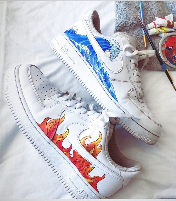 Nike Air Force1 customs Sneaker Art Custom fire & water