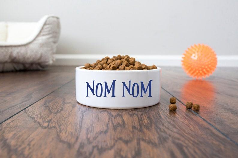 Nom Nom  Personalized Dog Bowl  Personalized Cat Bowl  Pet Bowl  Dog Bowl  Dog Bowl Ceramic  Personalized Dog Gift   Ceramic Dog Bowl