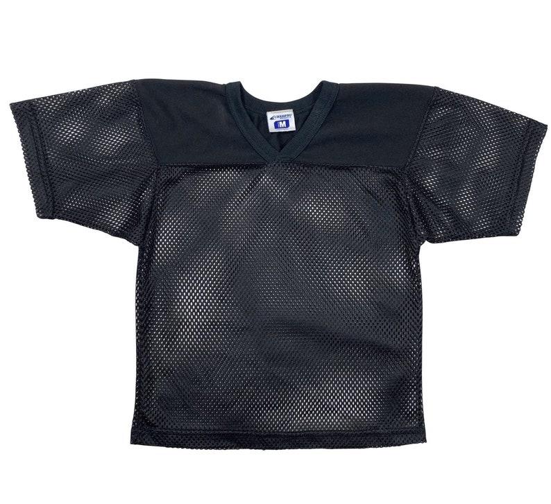 Black vneck mesh jersey-style tshirt Youth M