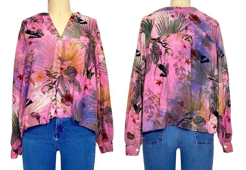 US 4 Tie dye floral crop top blouse H/&M