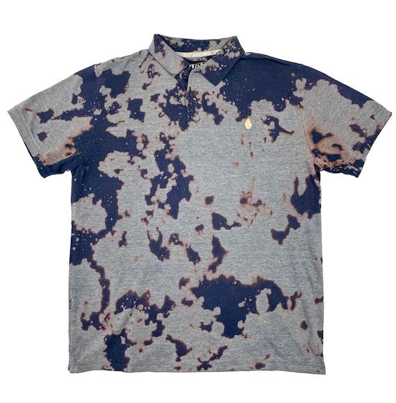 *VOLCOM* reverse tie dye polo tshirt studio715 skater shirt 90s grunge polo bleach dye polo shirt