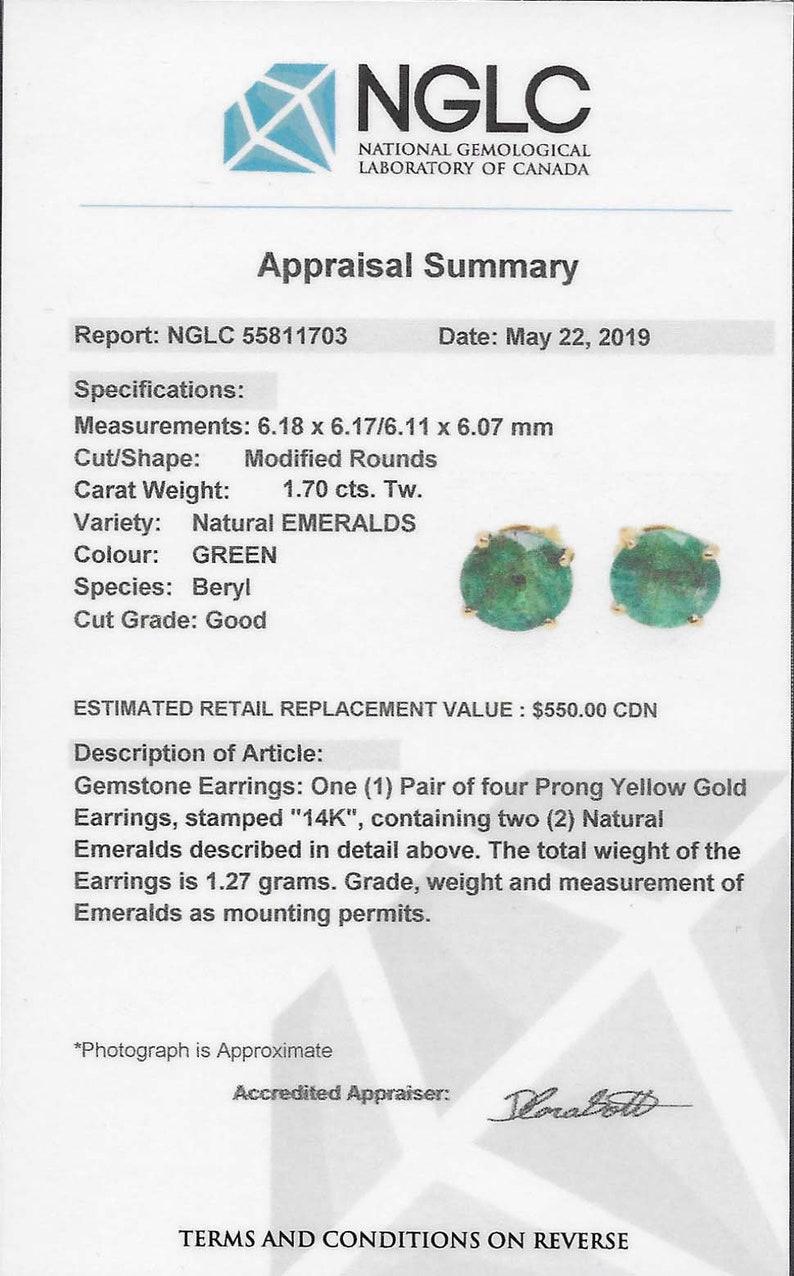 Certified gemstone Emeralds Genuine Emeralds Real May Birthstone Earrings 14K 6mm Emerald Earrings Yellow gold
