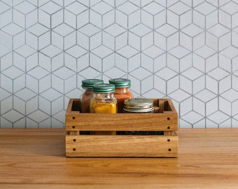 Small Wooden Crate - Wooden Storage Crate - Wooden Spice Rack - Wooden Key Box - Entryway Organizer - Essential Oil Storage Box