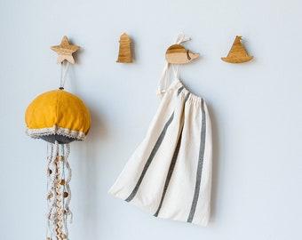 Nautical Hooks - Wood Wall Hooks - Ocean Theme Decor - Under The Sea Nursery - Girl Nautical Baby Shower - Bathroom Towel Hooks