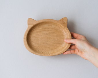 Wooden Plate Cat - Cat Plate - Carved Wood Bowl - Wooden Plate Kid - Wooden Animal Plate