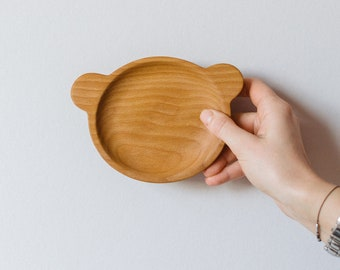 Wooden Plate Kid - Wooden Plate - Wooden Nut Bowl - Animal Plate - Snack Plate - Wood Plate For Kids