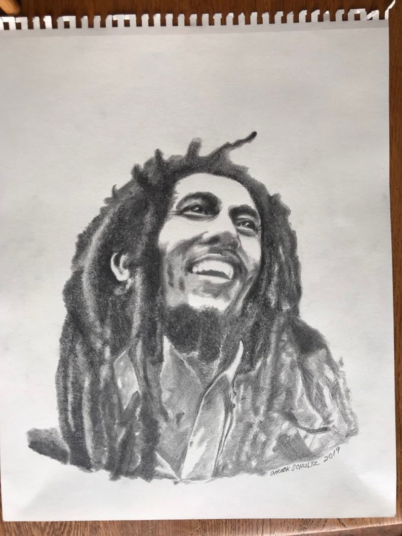 Bob marley art6 graphite pencil drawing art roots reggae