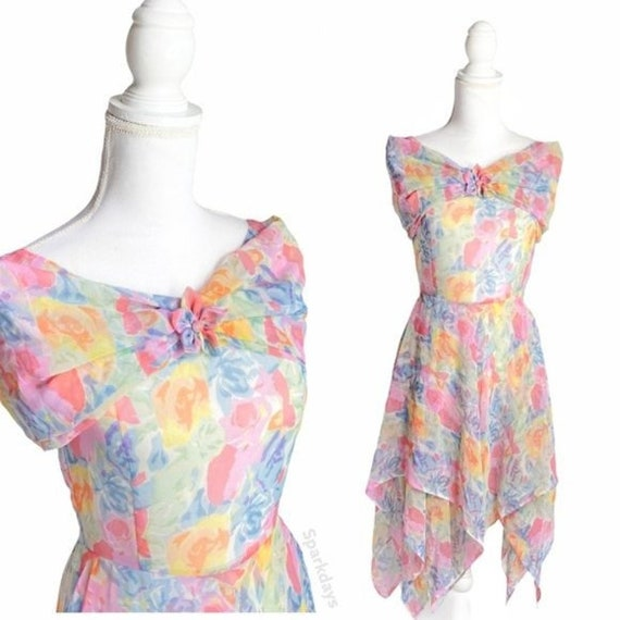 Vintage Pastel Floral Drape Shoulder Mini Dress |