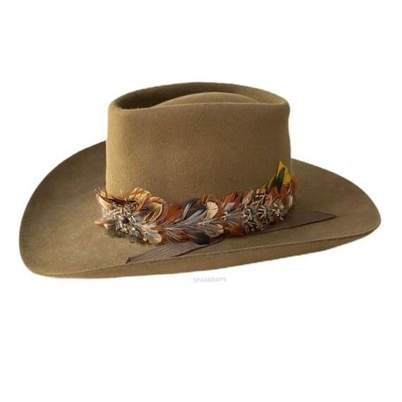 Dorian Western Brown Feather Cowboy Hat | 56 6 3/4