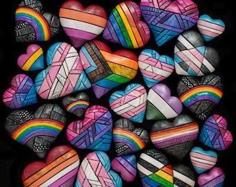 Pride flag Hearts Modern Wall Art, DIGITAL PRINT, Pride Rainbow, LGBTQ+ Lesbian Queer Gay Trans Printable, Instant Download, Decor