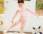 Matching Baby and Kids UV Swimsuit. Zig Zag Pink One piece for Newborn to age 2 Two pieces for Girls to age 7, Coral Rash Guard Swimsuit