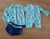 Matching Baby and Kids UV Swimsuit. One piece Swimsuit for Newborn to age 2 Two pieces for Girls to age 7, Rash Guard Swimsuit