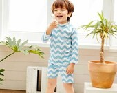 Matching Baby and Kids UV Swimsuit. Zig Zag Sky One piece Swimsuit for Newborn to age 2 Two pieces for Girls to age 7, Rash Guard Swimsuit