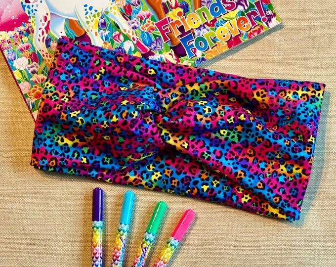 Featured listing image: 90s Girl Headband   Rainbow Animal Print