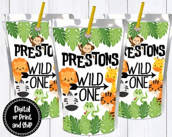 Zoo Birthday Juice Box Wrappers Printed  Wild Animal Safari Party Jungle Book Labels Tiger Zebra Personalized First Birthday Custom Favors