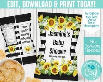 Bumblebees Sunflower Birthday.Sunflower Events Bumblebees /& sunflowers Sunflower treat bags,Sunflower Baby shower Sunflower chip bag