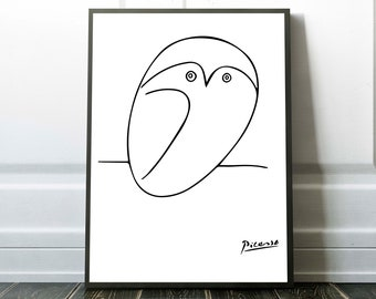 PICASSO OWL PRINT, Picasso Print, Picasso Poster, Picasso Drawing, Picasso Wall Art, Picasso Art Print, Picasso Line Drawings, 0007