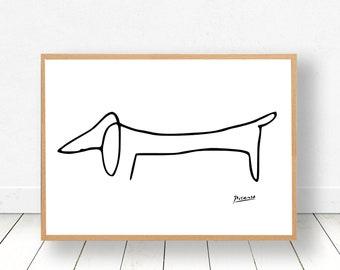 PICASSO DOG PRINT, Picasso Print, Picasso Poster, Picasso Drawing, Picasso Wall Art, Picasso Dog Print, Picasso Line Art, Picasso Art, 0004