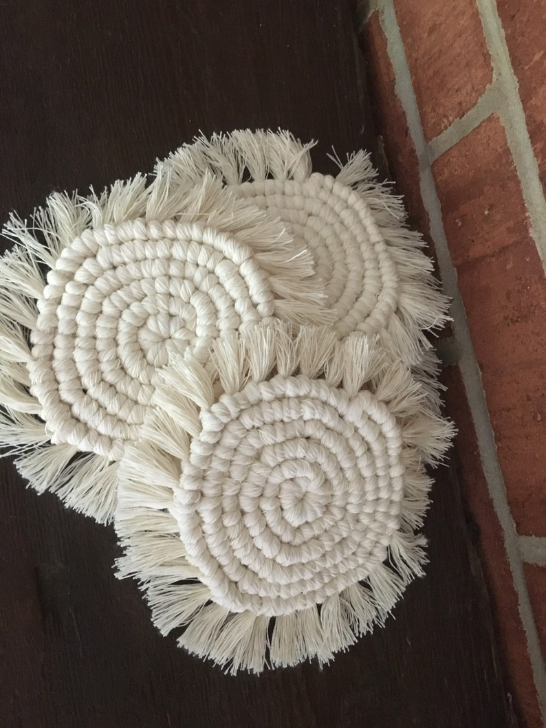 Macrame coasters  cotton rope cording  small woven coasters