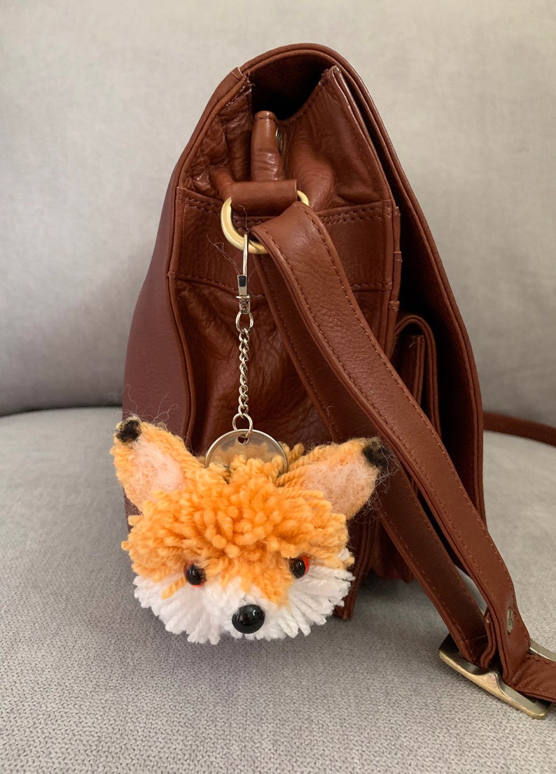 Fox Keychain Handbag Fob Pom Pom Pet Handmade to Order