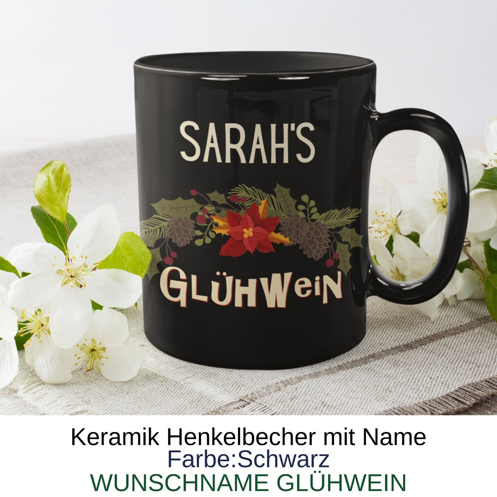 GLÜHWEIN cup with name! Ceramic cup with a great Christmas motif.