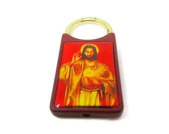 Vintage Sacred Heart League key chain Jesus spiritual pocket token Walls Mississippi red pull spring Hong Kong plastic