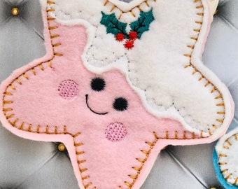 Felt Christmas Decorations - stars,  handmade gift, personalised gift, handmade felt decorations, felt ornament, Christmas tree ornaments