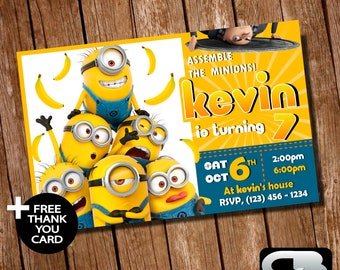 Minions Invitation With FREE Thank You Card