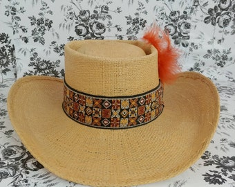 824c2654aa818 Vintage Stetson straw gambler boater panama hat
