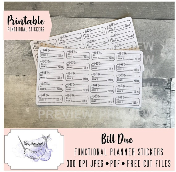 Payment Stickers Functional Planner Stickers Functional Bill Due Stickers