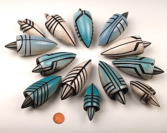 Miniature raku  'squid' pots