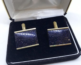 Very Don Draper Square Elegant pair of vintage Swank wedding cufflinks in grooved silver and black with brilliant blue crystal inset