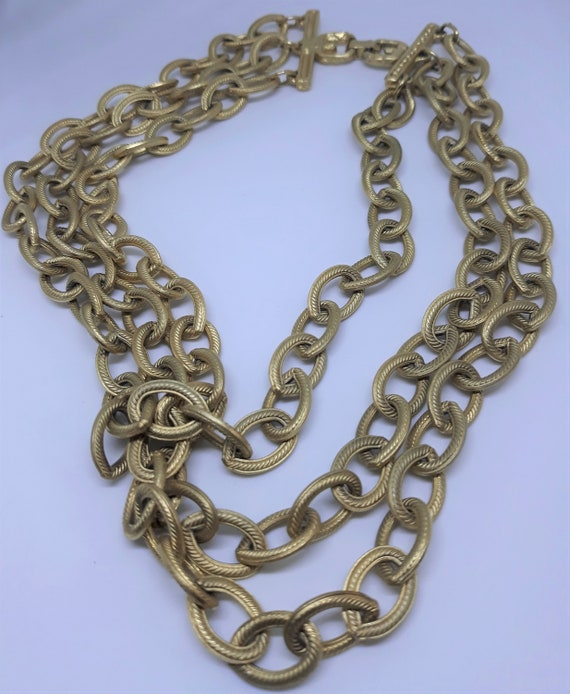 Givenchy, Signed Vintage Necklace - Gold Tone, Tri