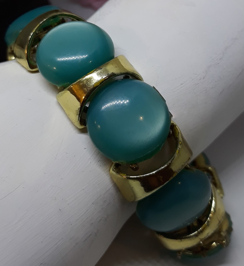 Chunky Teal Round Cabochon Thermoset Necklace and Bracelet Vintage Large Stunning